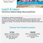 Dairy West Lunch and Learn – March 13, 2019  – Information and RSVP –